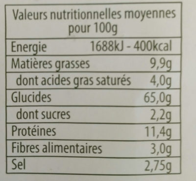 gressins aux olives - Nutrition facts