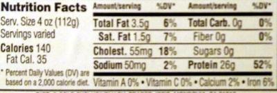Natural Pork Boneless Pork Loin Chops - Nutrition facts
