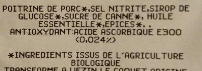 Lardon fumé bio - Ingrédients - fr