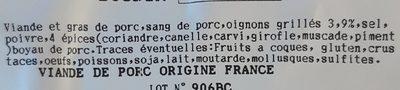 Boudin oignon - Ingredients - fr