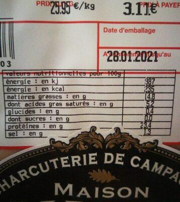 Rôti cuit en tranches - Nutrition facts