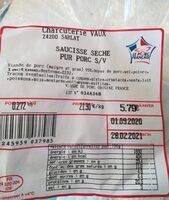 Saussice sèche pur porc - Product - fr