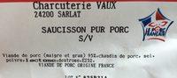 Saucisson pur porc - Ingredients - fr