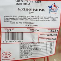 Saucisson pur porc - Nutrition facts - fr