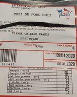 Rôti de porc cuit - Nutrition facts - fr