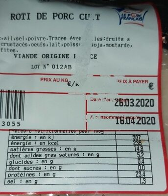 Rôti de porc cuit - Nutrition facts - fr