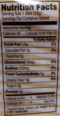 turkey breast smoked sliced - Nutrition facts