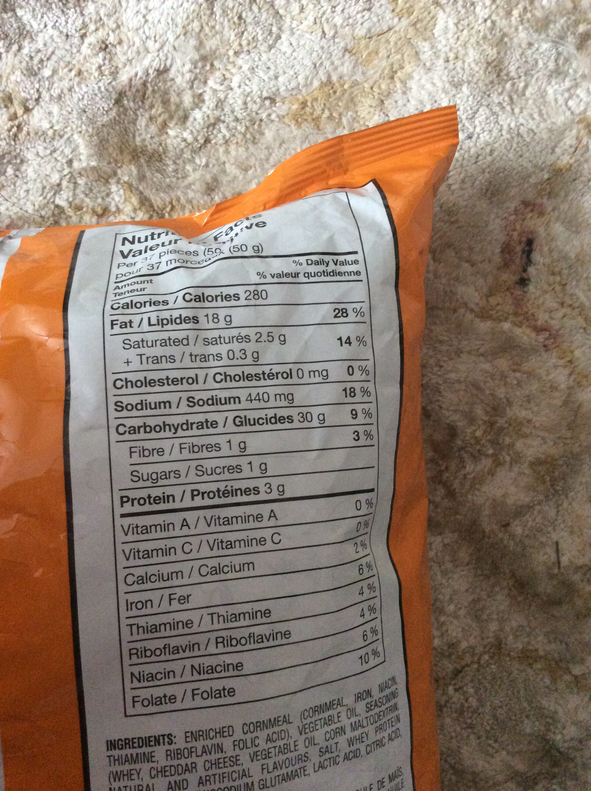 Cheetos Crunch - Nutrition facts