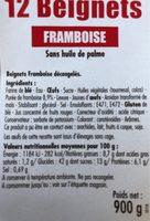 Beignet Framboise - Ingrédients