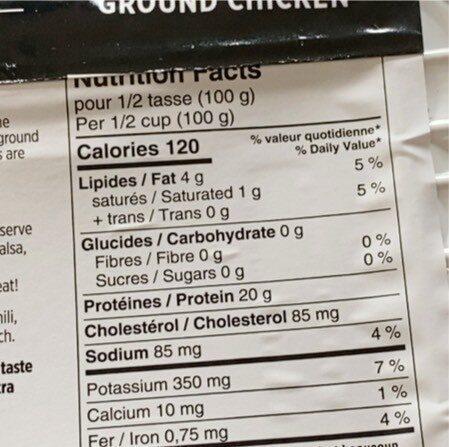 Poulet haché - Nutrition facts - fr
