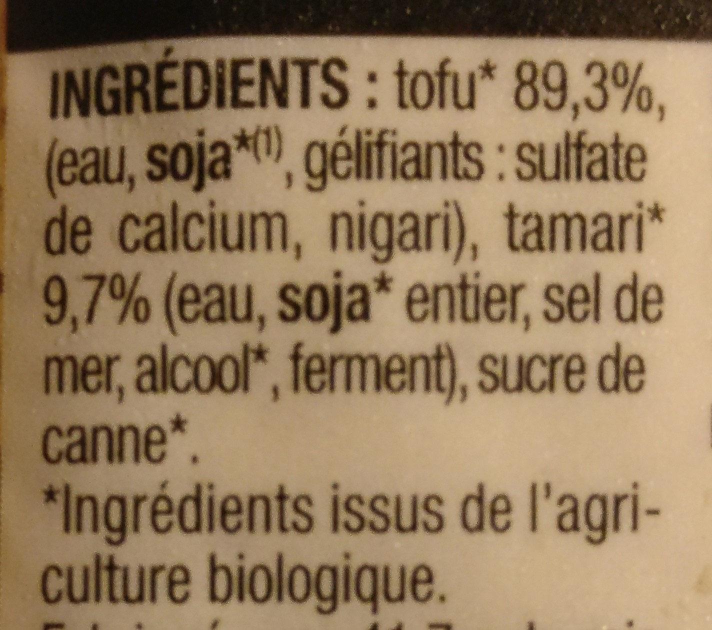 Tofou mariné à la japonaise - Ingrédients