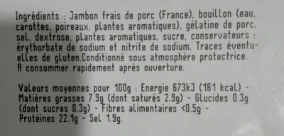 Jambon à l'ancienne cuit au torchon - Ingredients