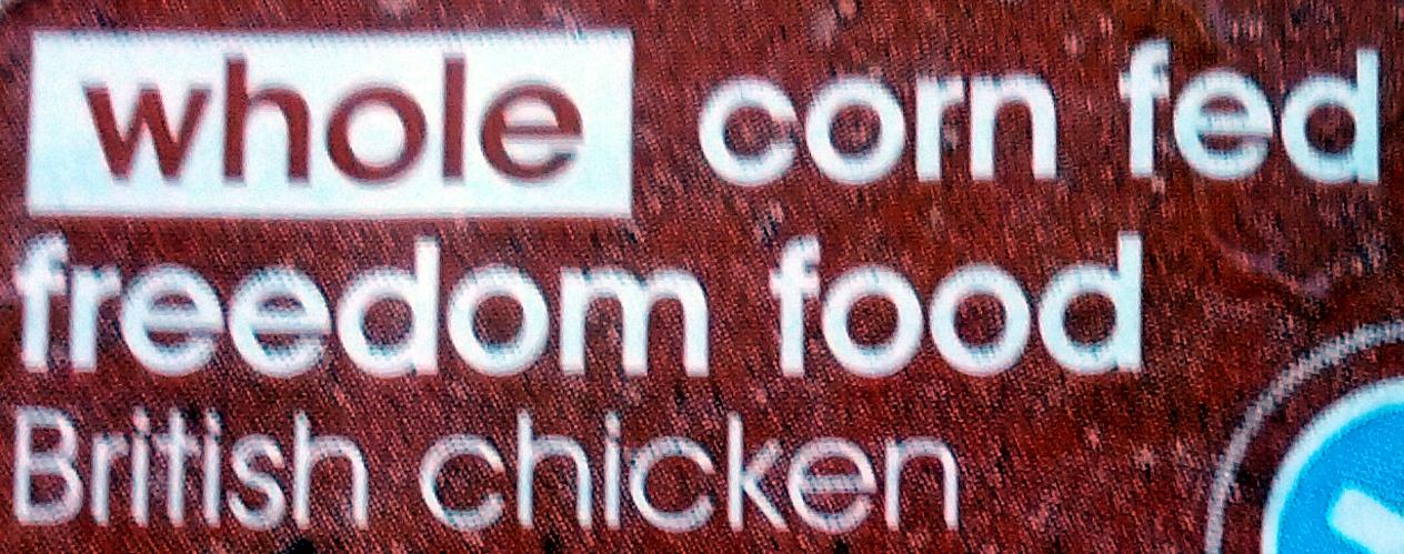 Whole corn-fed freedom food British chicken - Ingrédients - en