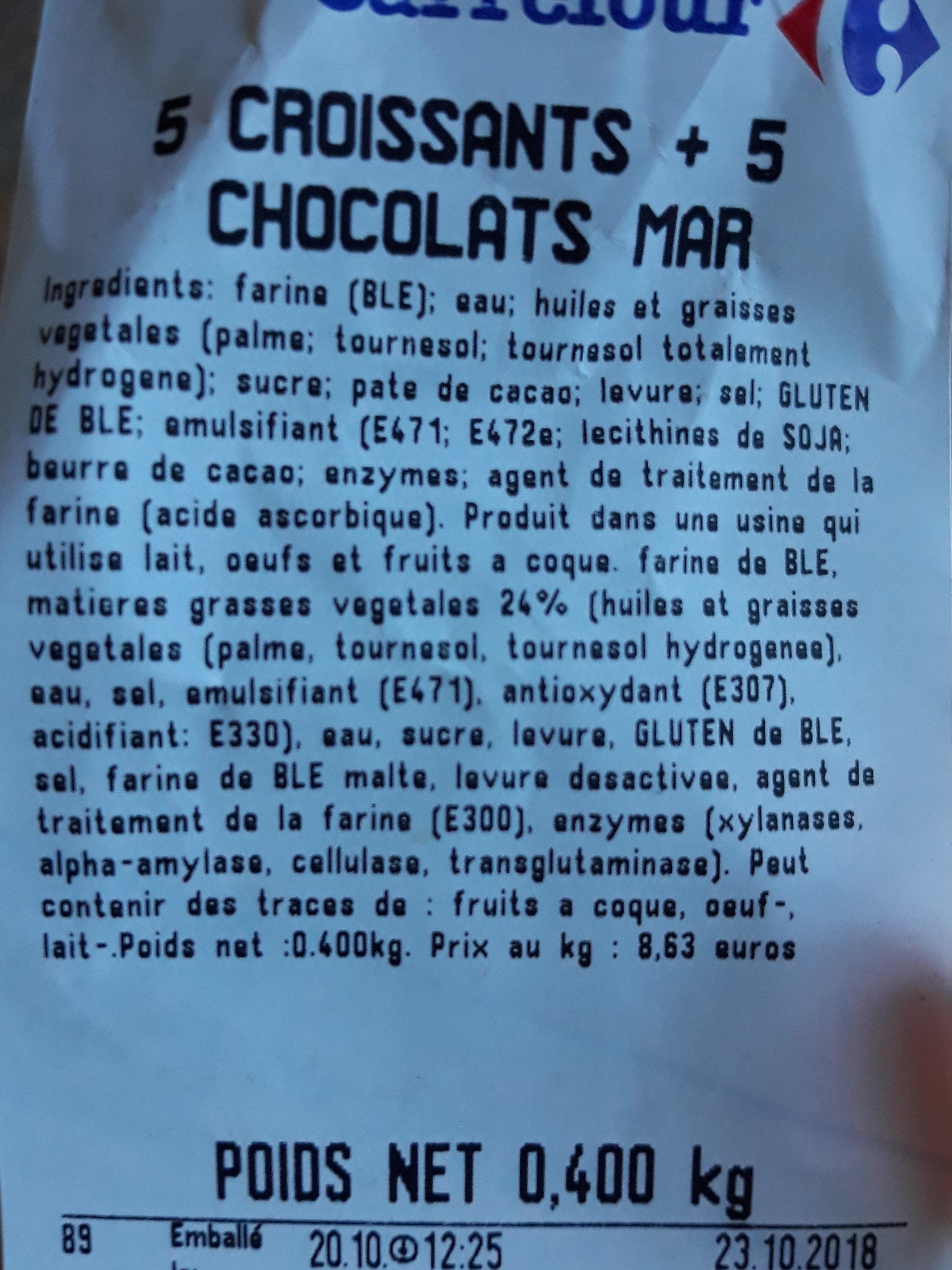 croissant et pain au chocolat - Ingrédients - fr
