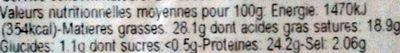 Tommette aux Herbes de Provence - Nutrition facts