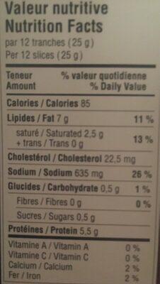 Saucisson sec de porc nature - Nutrition facts