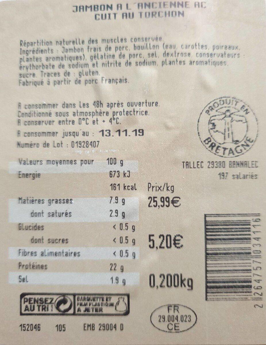 Jambon à l'ancienne - Nutrition facts - fr