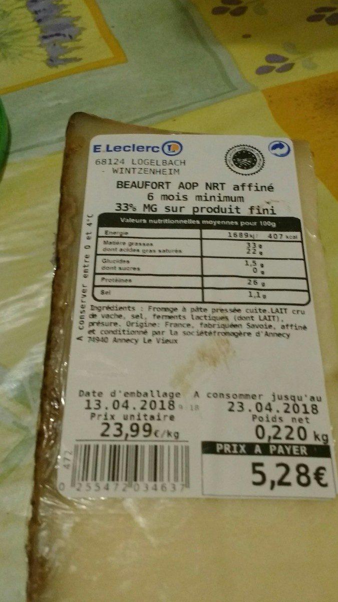Beaufort aop nrt affiné - Ingredientes