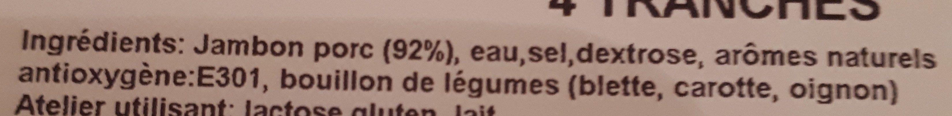 Jambon cuit de Paris supérieur - Ingrediënten - fr