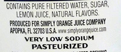 Simply Lemonade - Ingredients