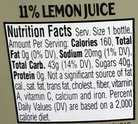 Simply Lemonade - Nutrition facts
