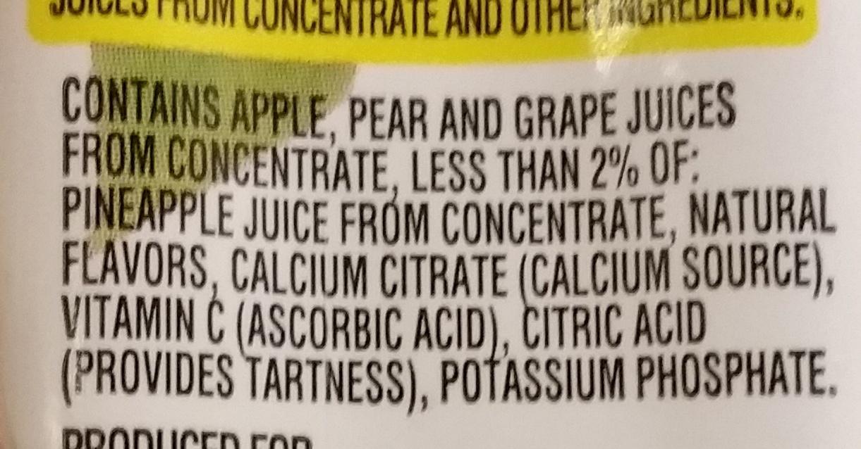 100% Juice Fruit Punch - Ingrediënten