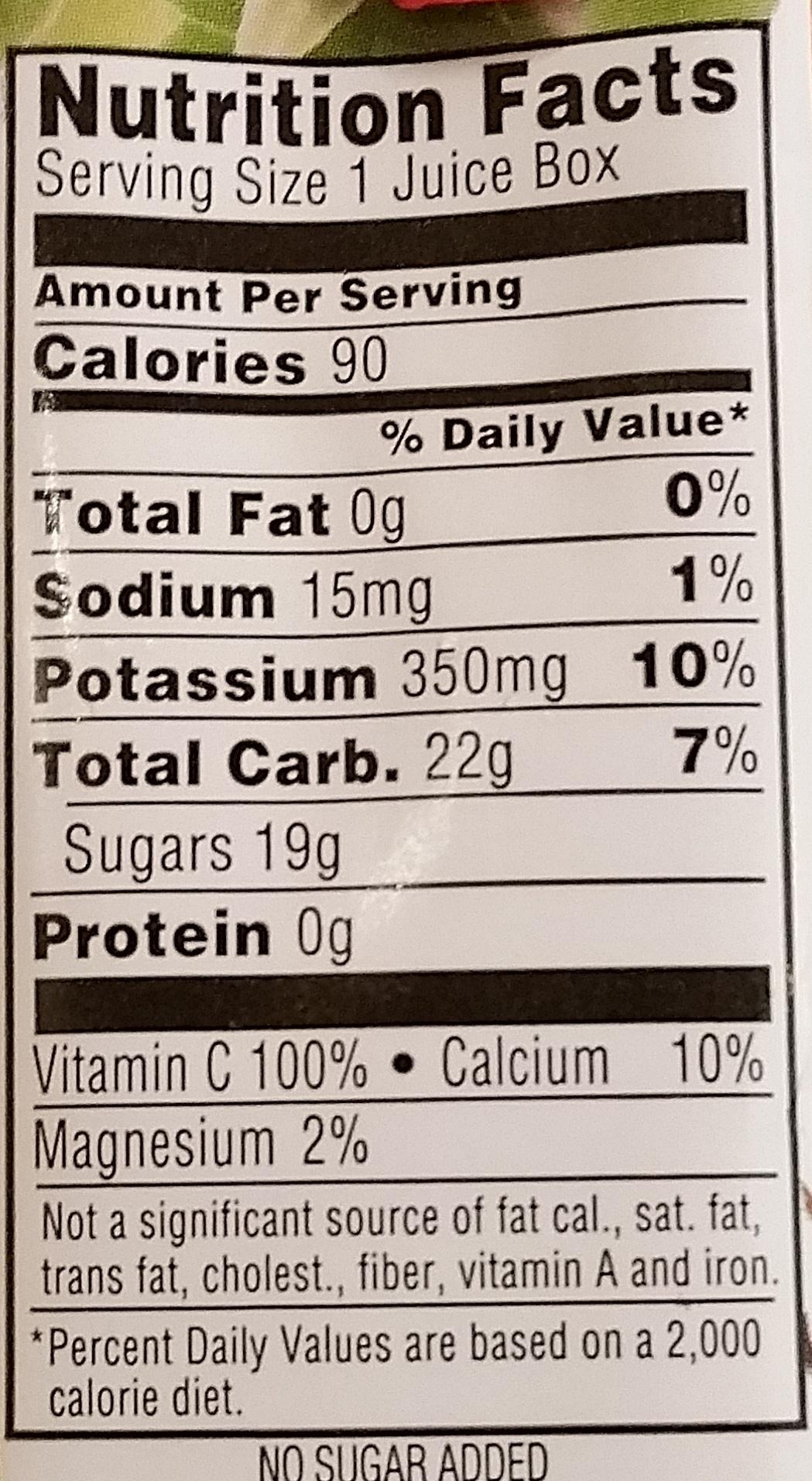 100% Juice Fruit Punch - Voedingswaarden