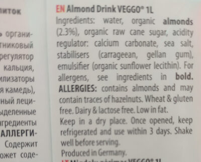 VEGGO Organic Almond Drink - Ingredients