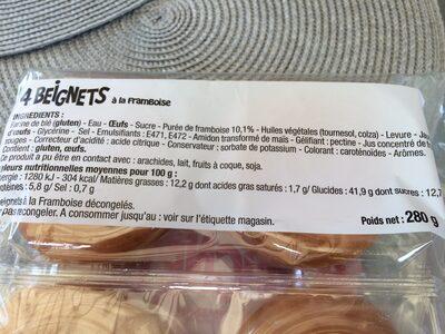 4 beignets a la framboise - Ingrédients - fr