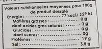 Morue salée séchée prédécoupée - Nutrition facts