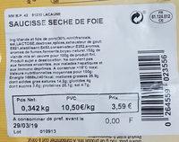 saucisse sèche de foie - Ingrediënten - fr