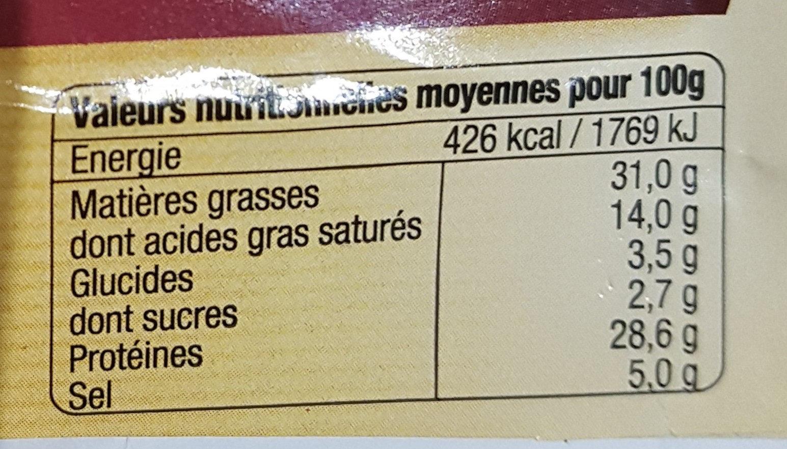 saucisse sèche de foie - Voedingswaarden - fr