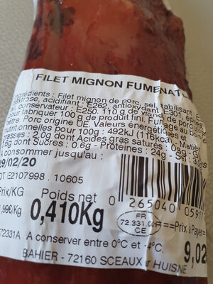 filet mignon fumé nature - Informations nutritionnelles - fr