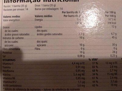 Barritas - Nutrition facts - es