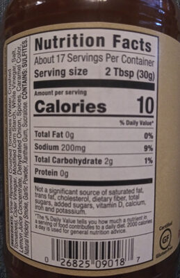 Sugar Free BBQ sauce Sweet & Spicy - Nutrition facts - en