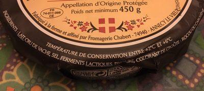 Reblochon de Savoie - Ingredients