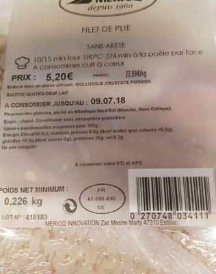 Filet de plie - Ingrediënten - fr