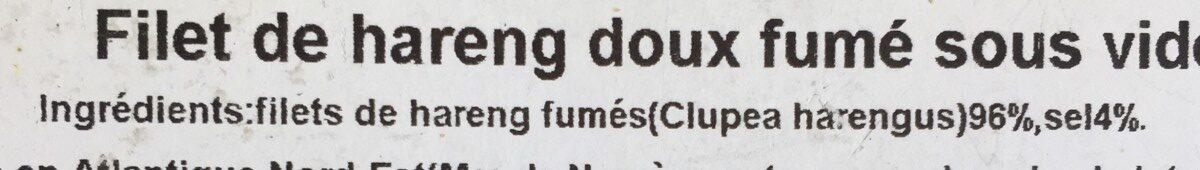 Filet de hareng doux fumé - Ingrediënten - fr