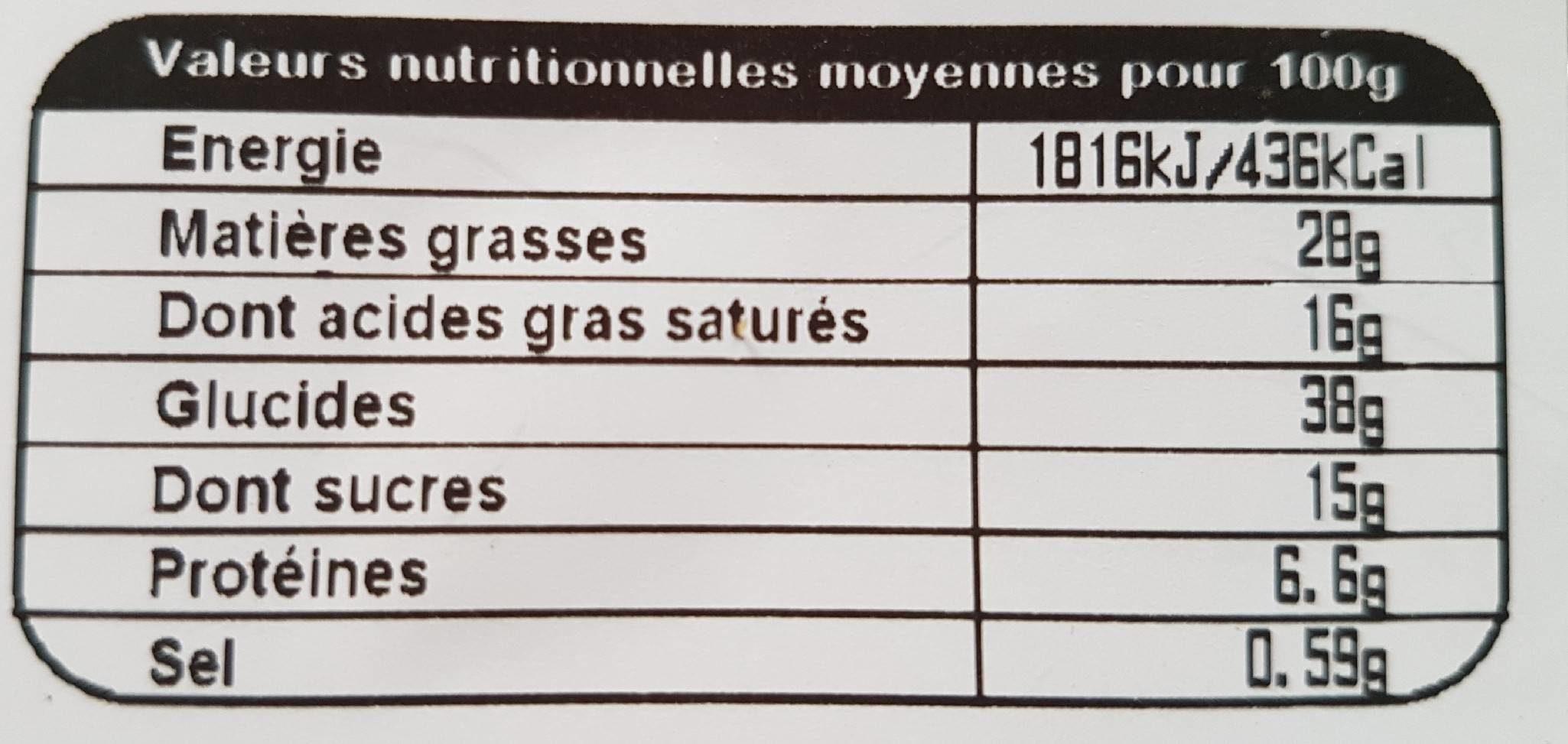 Galette Frangipane - Informations nutritionnelles - fr