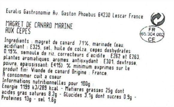 Magret de canard mariné aux cepes - Ingrediënten - fr
