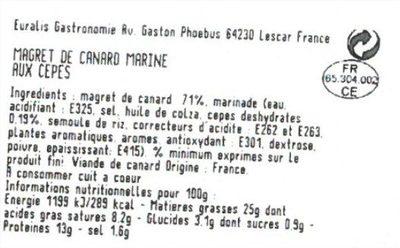 Magret de canard mariné aux cepes - Voedingswaarden - fr