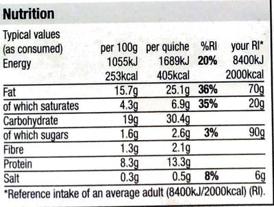 Bacon & Leek Quiche - Nutrition facts - en