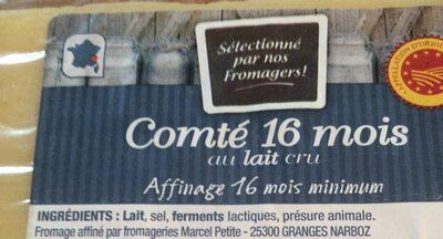 Comté 16 mois au lait cru - Ingrediënten - fr