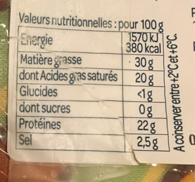 Fourme d'Ambert - Nutrition facts