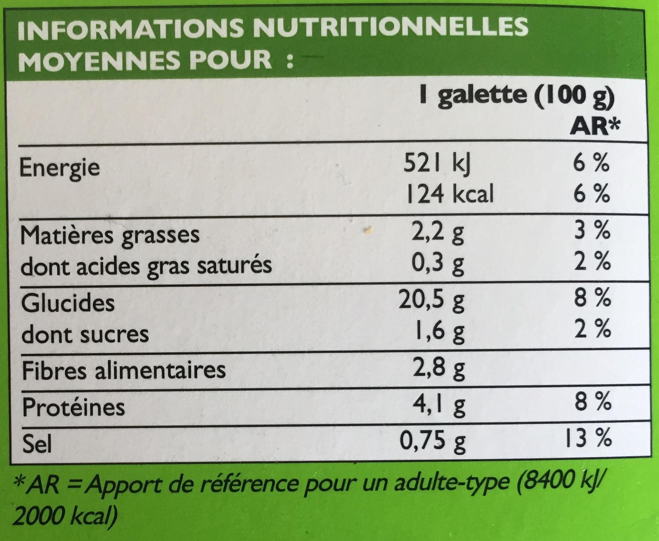 2 Galettes de Céréales à la Provencale - Informations nutritionnelles