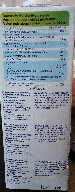 alpro kokosnuss original - Nutrition facts - de