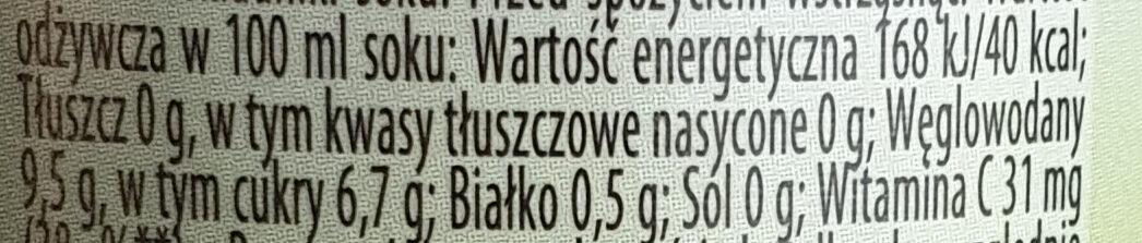 Sok grejpfrutowy - Wartości odżywcze - pl