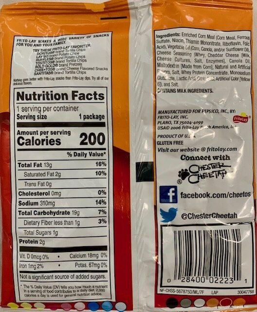 Cheetos Crunchy - Ingredients - en