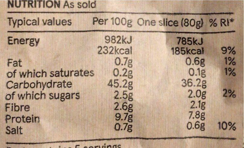 Tesco Stonebaked White Boule - Nutrition facts - en