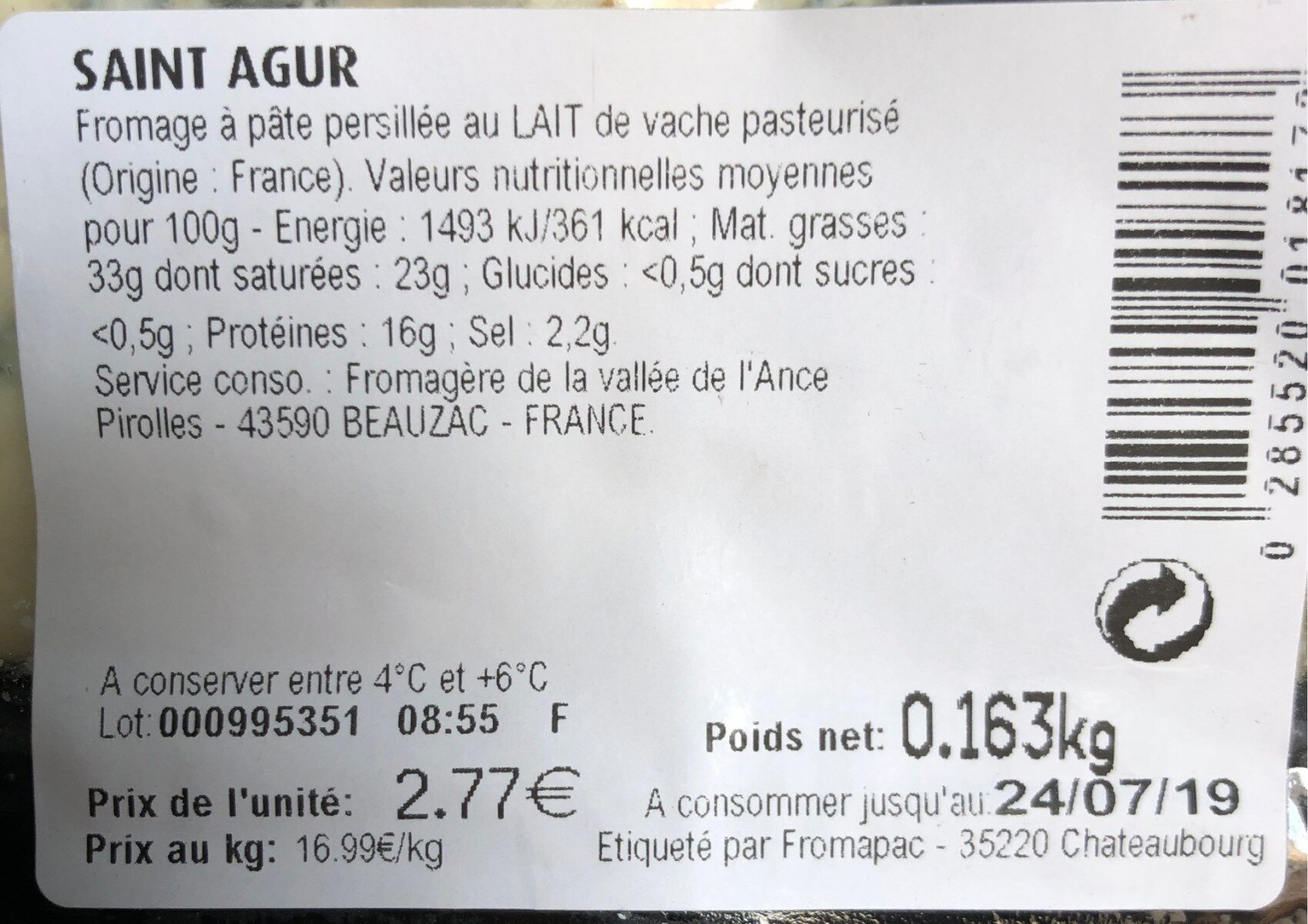 Saint Agur l'intense - Informations nutritionnelles